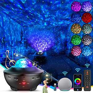 Star Night Light Projector -Smart WiFi Skylight Projector, 8 in 1 Starry Light With Bluetooth Speaker, Voice Control & Timer, Pro 360° Moving Ocean Wave, 16 Million Colors Galaxy Light For Bedroom Kid