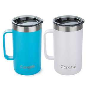 Congela 22oz 2Pack stainless steel insulated coffee mugs with handle, vacuum camping and travel tumbler cups set with durable Tritan lid(Sky blue+White,22oz 2Pack)