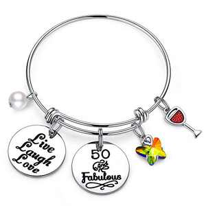 IEFWELL 50th Birthday Gifts Women, Gifts for 50th Birthday 50 Years Old Birthday Gifts for Sister Women Friends Female, 50 and Fabulous Bracelet Happy 50th Birthday