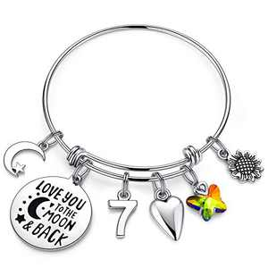 IEFWELL 7th Birthday Bracelet Gifts for Girls, 7 Years Old Girls Gifts Birthday Bracelet Little Girls Girls Daughter Birthday Gifts Age 7 Happy 7th Birthday