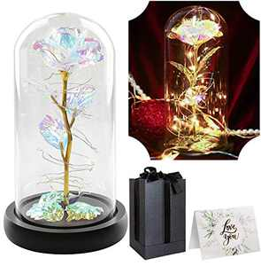 Galaxy Rose Flower Gift,Led Light String on The Colorful Flower,Wedding,Birthday and Valentines, for Her