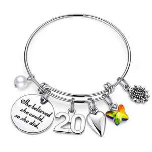 IEFWELL 20th Birthday Gifts for Women Daughter, Bracelets 20 Birthday Gifts for Women Her Daughter Teenage Girls Sister Inspirational Graduation Gifts