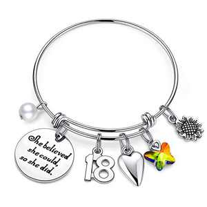IEFWELL 18th Birthday Gifts for Girls, 18 Birthday Gifts Bracelet for Teen Girl 18 Years Old Girl Birthday Gift 's Present Happy 18th Birthday