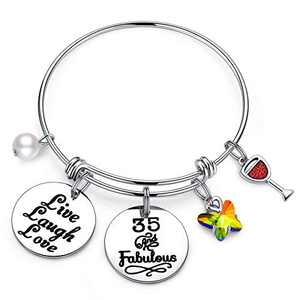 IEFWELL 35th Birthday Gifts for Women Friend, Birthday Bracelets Jewelry 35 Years Old Birthday Gifts for Friends Female Women Sister Birthday's Present Happy 35th Birthday