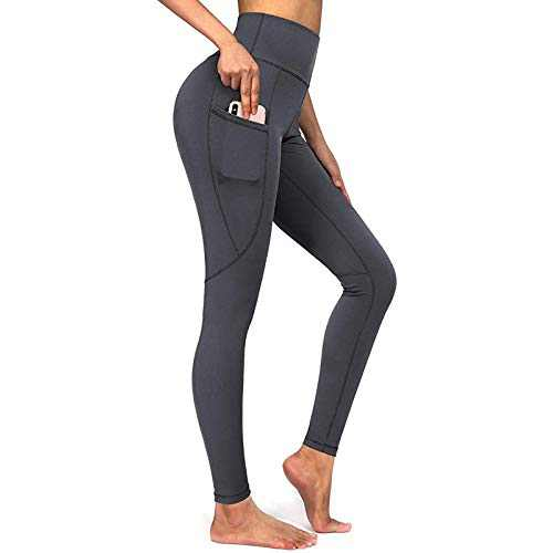 E-SHOW TREE Thick High Waist Yoga Pants with Pockets, 4 Way Stretch, Tummy Control Workout Running Yoga Leggings for Women (Gray, XXL)