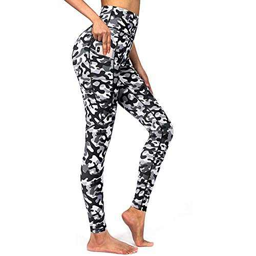 E-SHOW TREE Thick High Waist Yoga Pants with Pockets, 4 Way Stretch, Tummy Control Workout Running Yoga Leggings for Women (White, S)