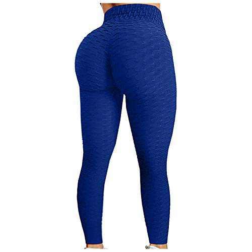 E-SHOW TREE Women's Ruched Butt Lifting Anti Cellulite Leggings Booty Lifting Scrunch Yoga Pants (Blue, M)