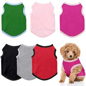 6 Pieces Dog Shirts Pet Puppy Blank Clothes Breathable Dog Plain Shirts Soft Puppy T-Shirts Clothes Outfit for Dogs Cats Puppy (Small, Black, Pink, White, Green, Red, Gray)