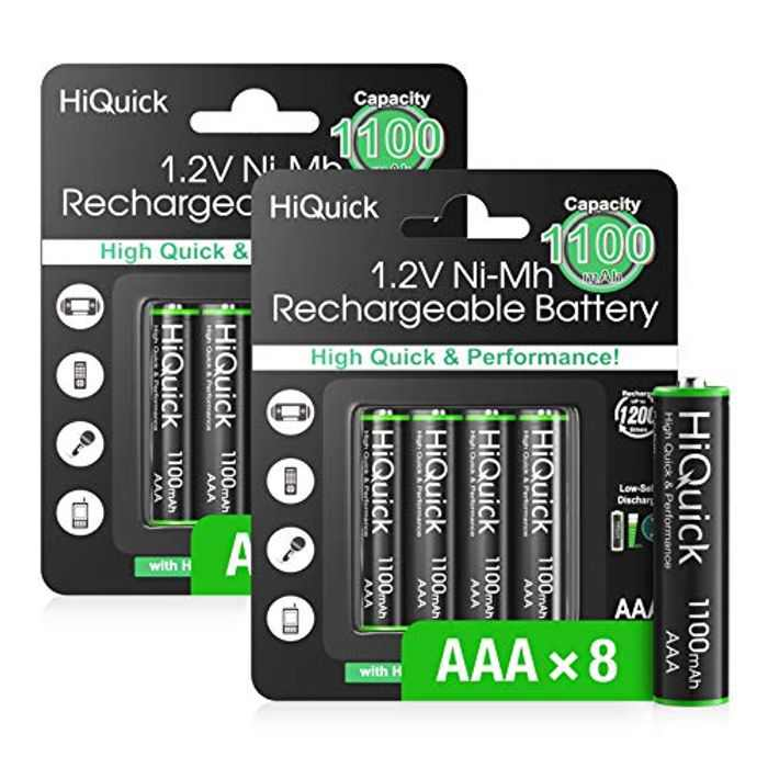 HiQuick AAA Rechargeable Batteries 1100mAh, 8 AAA Rechargeable Battery 1.2V High Performance, Retailer Package
