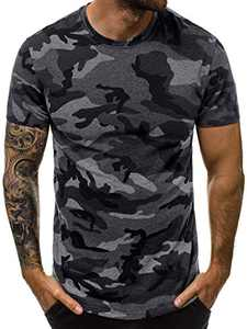 Aiopr Mens Camouflage Short Sleeve Shirts O Neck Camo T Shirts Gym Fitness Tees