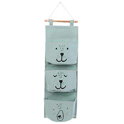 Wall Closet Hanging Storage Bag, Premium Linen Fabric Over The Door Organizer, Hanging Storage Pouches with 3 Pockets for Bedroom Bathroom - Waterproof & Stylish (Green)