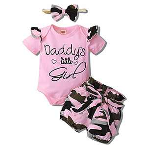Baby Girl Clothes Newborn Outfits 3Pcs Infant Floral Short Sleeve Romper Shorts Set + Headband Pink