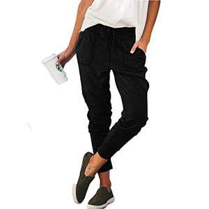 Murushe Women's Joggers Pants with Pockets Drawstring Workout Running Sweatpant with Elastic Waist Lounge Trousers (Large, Black)