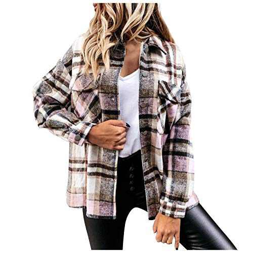 Women's Plaid Blouse Coat, Casual Long Sleeve Collar Button Jacket Shirt Tops (Blue, XL)