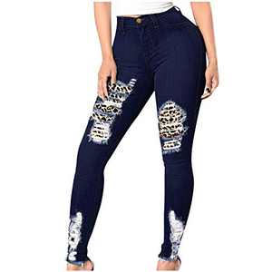 UNBRUVO Womens Hole Button Zipper Pocket Jeans Casual Denim Flares Wide Leg Slim Pants Jeggings Regular-Plus Size (Navy, L)