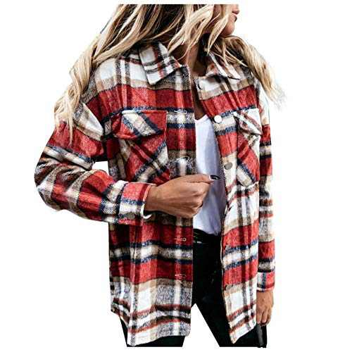 Women's Plaid Blouse Coat, Casual Long Sleeve Collar Button Jacket Shirt Tops (Red, M)