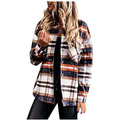 Women's Plaid Blouse Coat, Casual Long Sleeve Collar Button Jacket Shirt Tops (Brown, L)