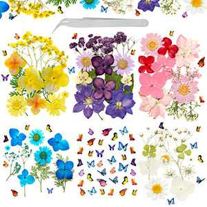 124Pcs Real Dried Pressed Flowers Leaves Natural Set with Butterfly Stickers and Tweezers Scrapbooking Supplies for DIY Candle Resin Jewelry Nail Pendant Crafts Art Floral Deco