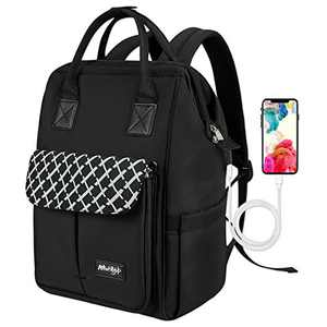 Business Travel Backpack Anti Theft School Laptop Bag Waterproof Comfort Computer Bags with USB Charging Port Black
