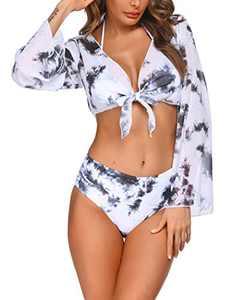 Ekouaer Bikinis for Women High Waisted Bikini Set Three Piece Bathing Suit Black