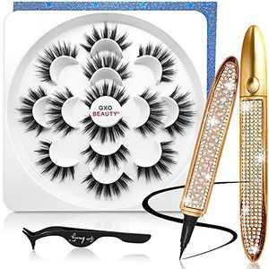 Without Magnetic Lashes and Eyeliner Kit, 7 Pairs Pack 3D False Eyelashes & 2 Black Waterproof Eyeliners Pencil 20MM Long Faux Mink Eyelash Set with Tweezers [ No Magnetic & Magnets ]…