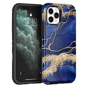 NIAFEYA Case Compatible with iPhone 11 Pro Max 6.5 inches, Gold Sparkle Glitter Marble Pattern for Women Men Shockproof Soft TPU Hard PC Protective Cover-with Gold Powder (Dark Blue Gilded Marble)
