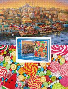 Jigsaw Puzzles for Adults/Teens/Kids(1000 Piece Seaside Castle and 300 Piece Candy)