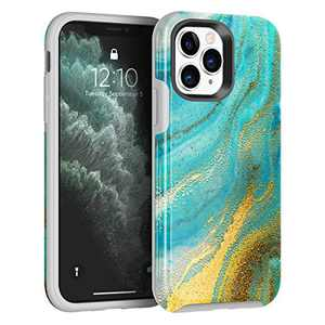 NIAFEYA for iPhone 11 Pro 5.8 Inches Defender Case Marble Cute Flower for Women Men Heavy Duty Shockproof Anti-Scratch Hard PC Soft Silicone Rubber Slim Protective Back Cover (Teal Gilded Marble)