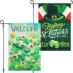 Boao 2 Pieces St. Patrick's Day Garden Flags Vertical Irish Shamrock Yard Flag Double Sided Green Hat Garden Flag Holiday Decorative House Flag for St. Patrick's Day Decoration,12 x 18 Inches