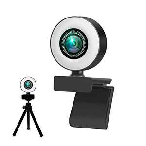 Pc Webcam for Streaming Webcam with Ring Light and Dual Microphone 1080P Web Camera for Zoom Skype Facetime PC Mac Laptop Desktop