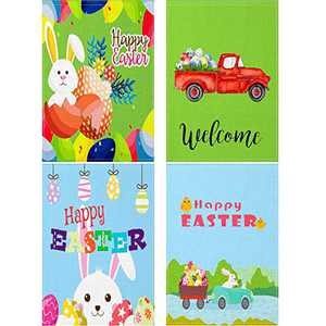 4 Pieces Easter Garden Flag Happy Easter Bunny Eggs House Flag 12 x 18 Inch Double Sided Spring Rabbit Yard Flag with 4 Flag Rubber Stoppers and 4 Anti-Wind Clips for Holiday Wedding Party Outdoor