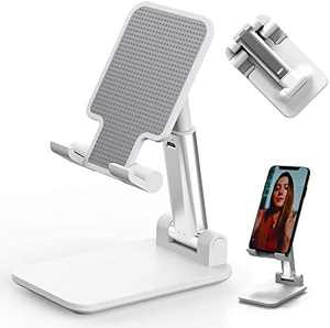 Teblacker Cell Phone Stand Angle Height Adjustable Cell Phone Stand Foldable Cell Phone Holder with Stable Anti-Slip Design Compatible with All Mobile Phone/iPad/Kindle/Tablet 4-9.7""