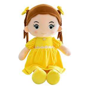 Handmade Rag Dolls for Home Decoration and Interior Design 14 Inch Gift Toy, First Baby Doll Cute Nursery Room Decor (Yellow, 14 inches)