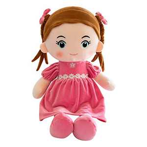Handmade Rag Dolls for Home Decoration and Interior Design 14 Inch Gift Toy, First Baby Doll Cute Nursery Room Decor (Pink, 14 inches)