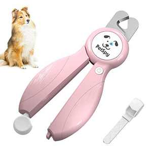 Newest Dog Nail Clippers with LED Guide Light, Professional Claw Care Pet Nail Clipper & Trimmer with Nail File, Razor Sharp Blades, Home Grooming Tool Kit for Animals (Pink)