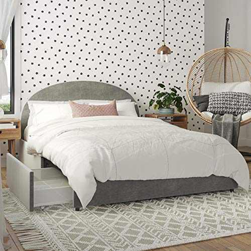 Mr. Kate Moon Upholstered Bed with Storage, Queen Size Frame, Light Gray Velvet