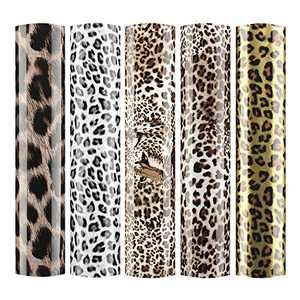 "Sov 5pcs/Set 12"" x 9.8"" Leopard Patterned Metallic Iron- on Heat Transfer Vinyl Foil HTV Craft Film Leopard Bundle Garment Clothing for T-Shirt Decoration DIY Craft Material (Bundle B)"