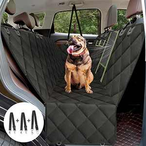 AURELIO TECH Dog Seat Covers for Back Seat, Convertible Dog Car Hammock Visual Mesh Window and Seat Belt, Waterproof Scratchproof and Anti-Slip Pets Seat Protectors for Cars/SUV/Trucks - Standard Size