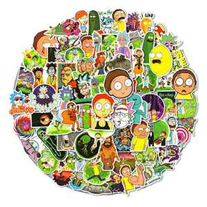 Rick and Morty Stickers for Laptop, 100pcs Cartoon Waterproof Stickers Pack for Hydro Flask, Water Bottle, Cute Anime Vinyl Stickers for Tenns, Adults, Kids