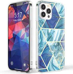 NIAFAYA Case Compatible with iPhone 12 Pro Max 6.7 inches Clear Sparkle Blue Marble for Women Men Girls Slim Glossy Shockproof Soft Silicone Protective Cover-Without Gold Powder(Blue Marble)