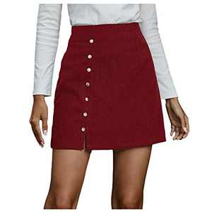 Fashion Women Solid Short Skirt High Waist Buttons Short Open Fork Bodycon Mini Lace-Up Pencil Skirt (Red, M)