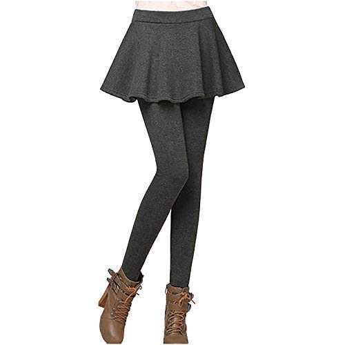 Women Autumn Winter Tight Plus Velvet Thicken Skirt Warm Lining Tights Pants Stretch Slim Leggings (Gary, M)