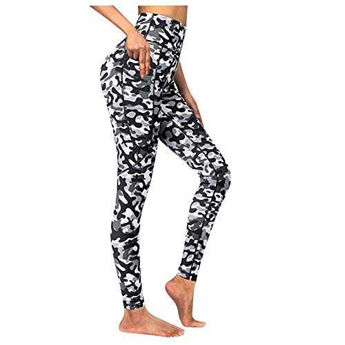 Jesaisque Women's Print Workout Leggings Fitness Sports Running High Waist Yoga Tummy Control Workout Athletic Pants (White, M)