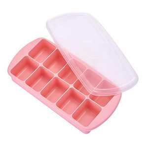 Ice Cube Trays with Lids, Stackable Silicone Ice Trays with Removable Lids, BPA Free and Easy-Release Ice Cube Molds Durable and Flexible, for Ice, Whiskey, Cocktail(Pink)