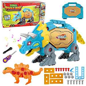 HONYAT Take Apart Dinosaur Toys for Boys Building Toy Set with Drill, Light and Sound Triceratops Toolbox, Construction Engineering Play Kit STEM Learning for Kids Girls Age 3 4 5 Year Old