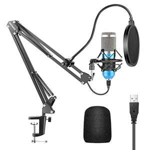 Neewer USB Microphone Kit, Supercardioid Condenser Microphone with Boom Arm and Shock Mount for YouTube Vlogging, Game Streaming, Podcasting, and Skype Calls, Plug&Play (Blue)
