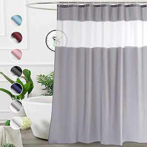 UFRIDAY 74 inch Grey Long Fabric Shower Curtain with Liner ,71x74 inch Hotel Quality Cloth Shower Curtains for Bathroom with Sheer Window,Machine Washable , Water Resistant, with 12 Hooks , Gray
