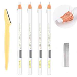 Waterproof Eyebrows Pencil Tattoo Makeup And Microblading Supplies Kit-Permanent Eye Brow Liners In 5 Colors Waterproof Eyebrow Pencils Peel - Brow Pencil Set For Marking (4 white)