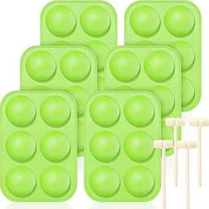 6 Pieces Silicone Molds for Chocolate Hot Chocolate Mold Large Half Round Sphere Silicone Molds with 4 Pieces Wooden Hammers for Chocolate, Cake, Jelly (Green)