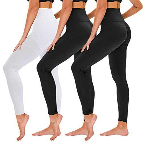 TNNZEET 3 Pack High Waisted Leggings for Women - Buttery Soft Workout Running Yoga Pants (Black/Black/White, Large-X-Large, l)